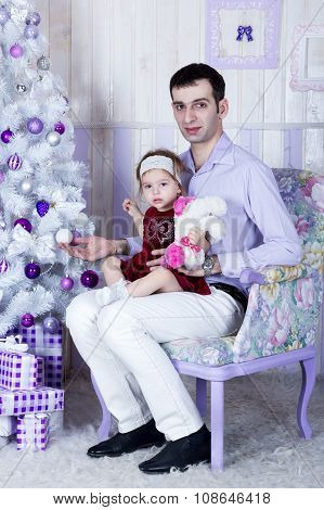 Christmas portrait of father and daughter