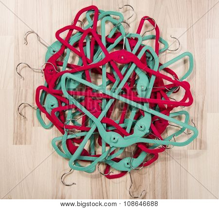 Pile Of Hangers On The Floor.