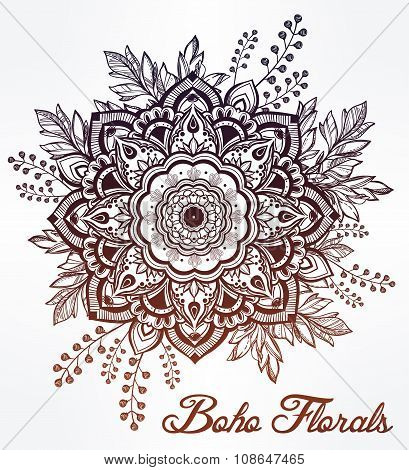 Hand drawn ornate flower in the crown of leaves.