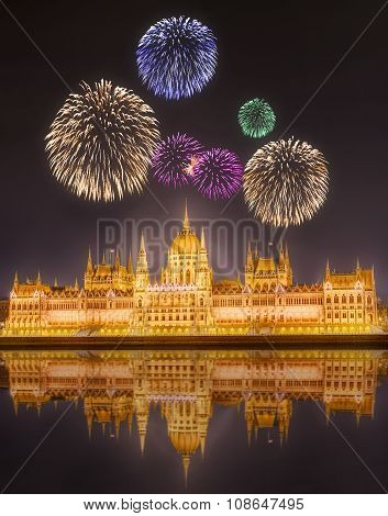 Beautiful Fireworks Under Hungarian Parliament Building