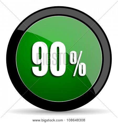 90 percent green web glossy circle icon on white background