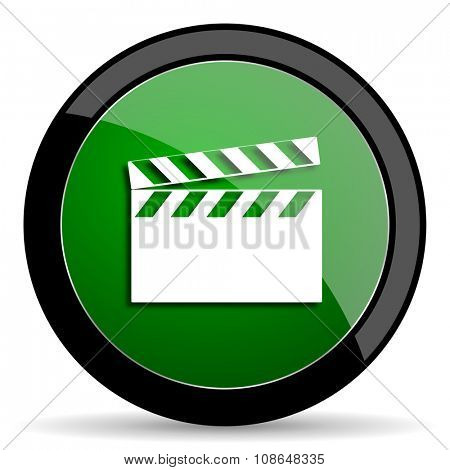 video green web glossy circle icon on white background