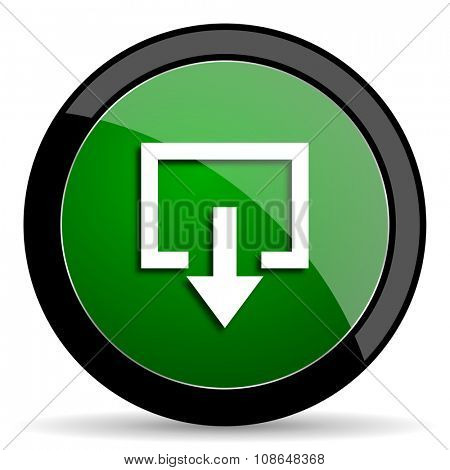 exit green web glossy circle icon on white background