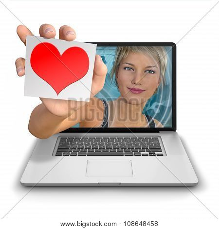 Computer Girl  With Red Heart On Card
