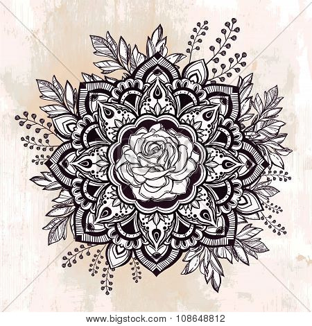 Hand drawn ornate rose flower with leaf crown.