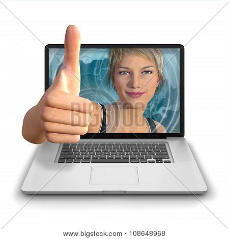 Computer Girl Thumbs Up