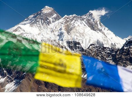 Mount Everest With Buddhist Prayer Flags From Renjo La