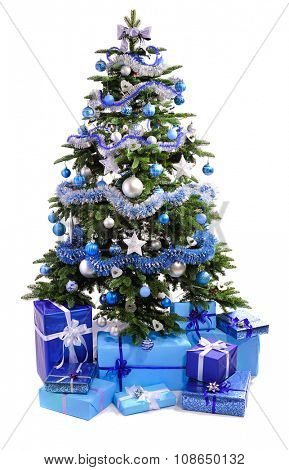 decorated Christmas tree with  blue gifts isolated on white background