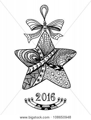 Christmas Star in Zen-doodle style black on white