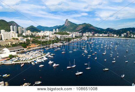 Aerial view of Guanabara Bay in Rio de Janeiro, Brazil