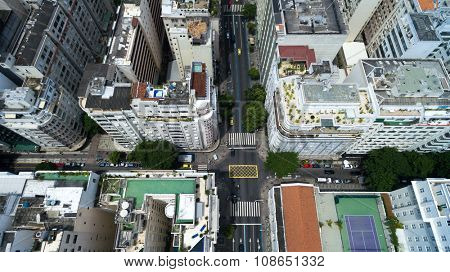 Copacabana district on top angle of view in Rio de Janeiro, Brazil