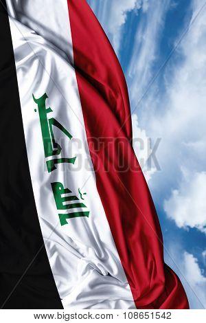 Iraq waving flag on a beautiful day