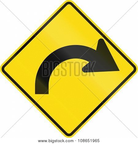 New Zealand Road Sign - Curve Between 90 Degrees And 120 Degrees To Right