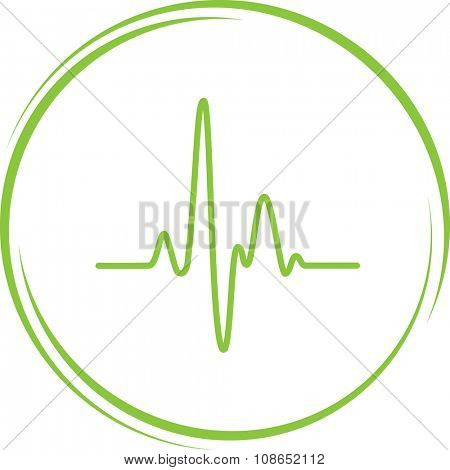 cardiogram. Internet button. Vector icon.