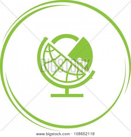 globe and lock. Internet button. Vector icon.