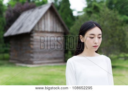 Beautiful Teenagers Standing In Front Cabin