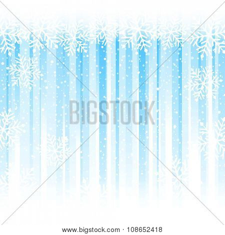Blue stripes from darker to white at the bottom overlaid with a snowflake border at the top and snowfall. Abstract winter backdrop with copy space