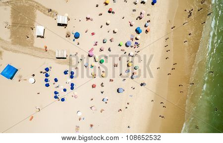 Aerial View of Crowd of People Copacabana Beach, Rio de Janeiro, Brazil