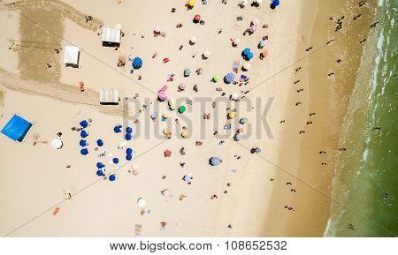 Aerial View of Crowd of People Copacabana Beach, Rio de Janeiro, Brazil