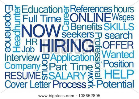 Now Hiring Word Cloud on White Background