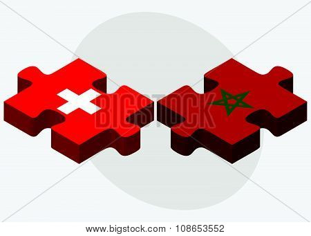 Switzerland And Morocco Flags