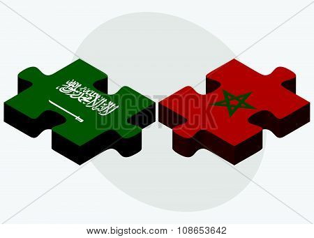 Saudi Arabia And Morocco Flags