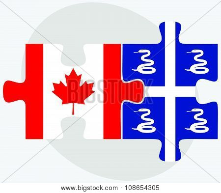 Canada And Martinique Flags