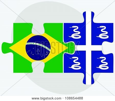 Brazil And Martinique Flags