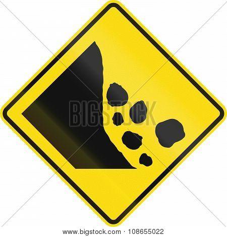 New Zealand Road Sign - Falling Rocks Or Debris On Left