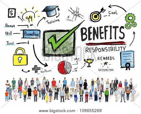 Benefits Gain Profit Earning Income Diversity People Concept