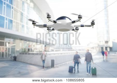 modern 3d drone adn town background