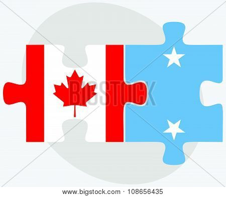 Canada And Micronesia Flags