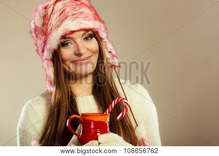 Christmas Girl With Mug And Cane.