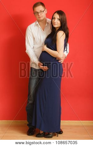 Pregnant Woman With Her Man Husband
