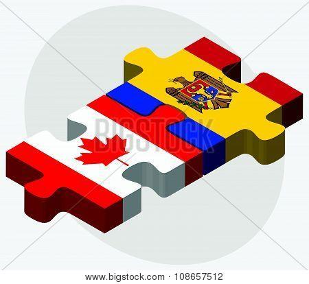 Canada And Moldova Flags