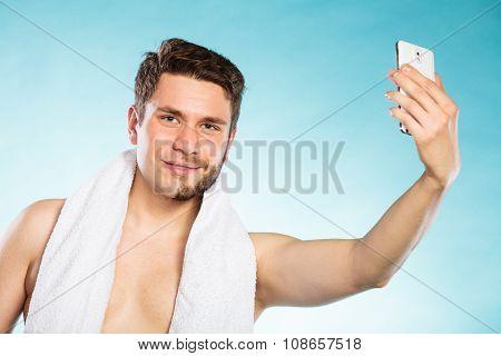 Half Shaved Man Taking Selfie Self Photo.