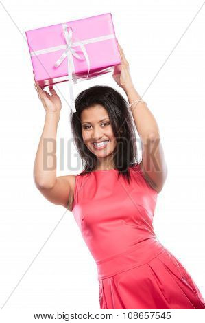 Pretty Mixed Race Woman With Box Gift. Christmas