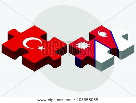 Turkey And Nepal Flags