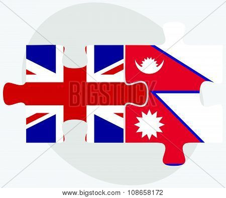 United Kingdom And Nepal Flags