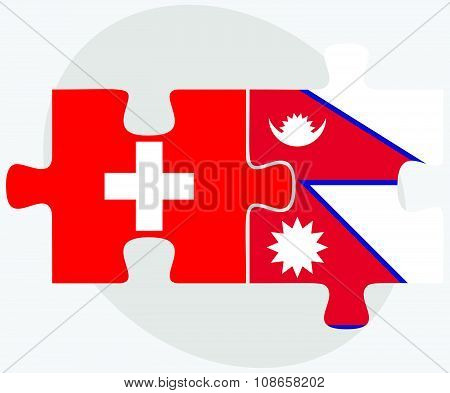 Switzerland And Nepal Flags