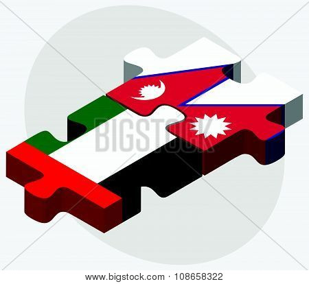 United Arab Emirates And Nepal Flags