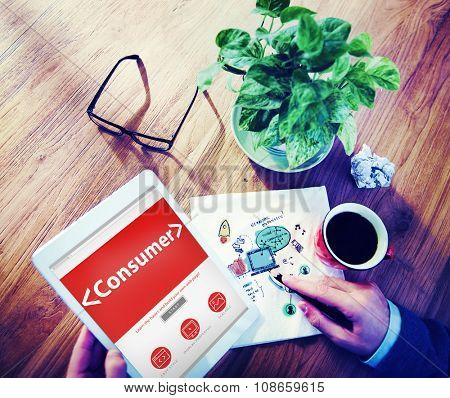 Digital Online Consumer Costumer Buyer Client Working Concept
