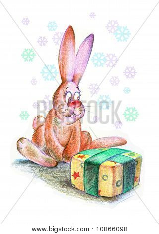 Funny Christmas Rabbit