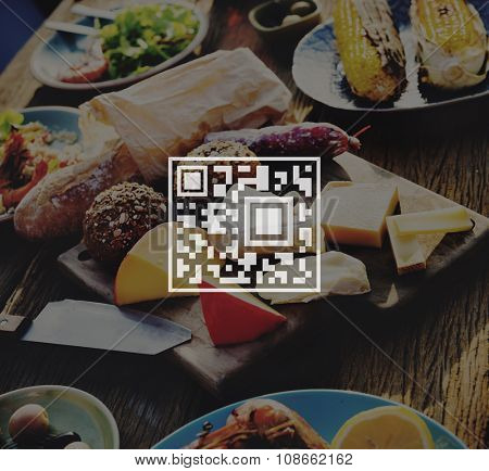 QR Code Price Tag Coding Encryption Label Merchandise Concept