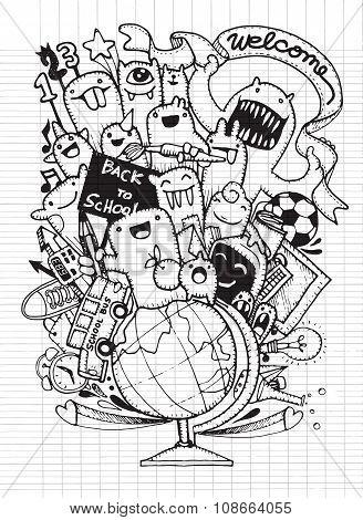Hand Drawn School Items.back To School