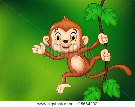 Cartoon funny monkey hanging and waving hand
