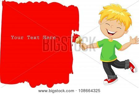 Cartoon little boy painting the wall with red color