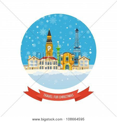 Travel to Europe for christmas. Merry Christmas greeting card design.