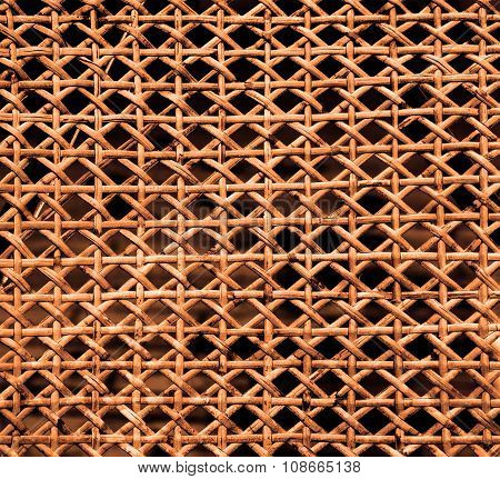 Texture Of Orange Lacquered Wicker Wood