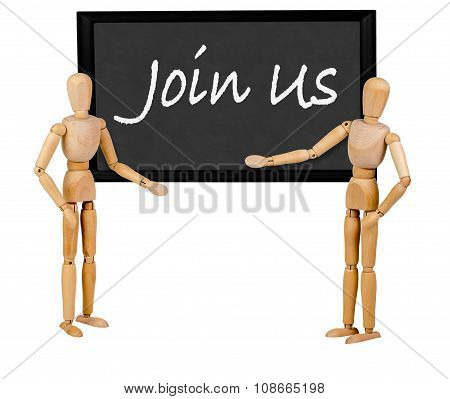 two mannequins pointing to blank blackboard stating 'join us'